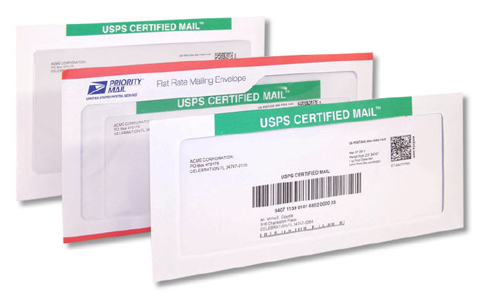 Certified Mail Envelopes to be used with PC Postage